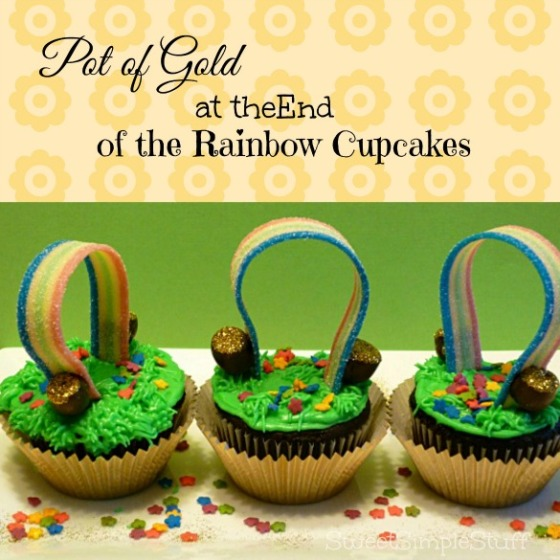Pot of Gold at the End of the Rainbow Cupcakes from SweetSimpleStuff