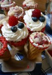 Red, white & blueberry cones