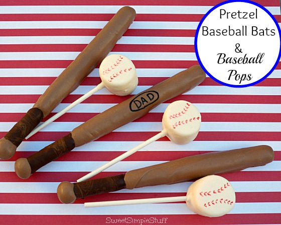Pretzel Baseball Bats and Ball Pops by SweetSimpleStuff