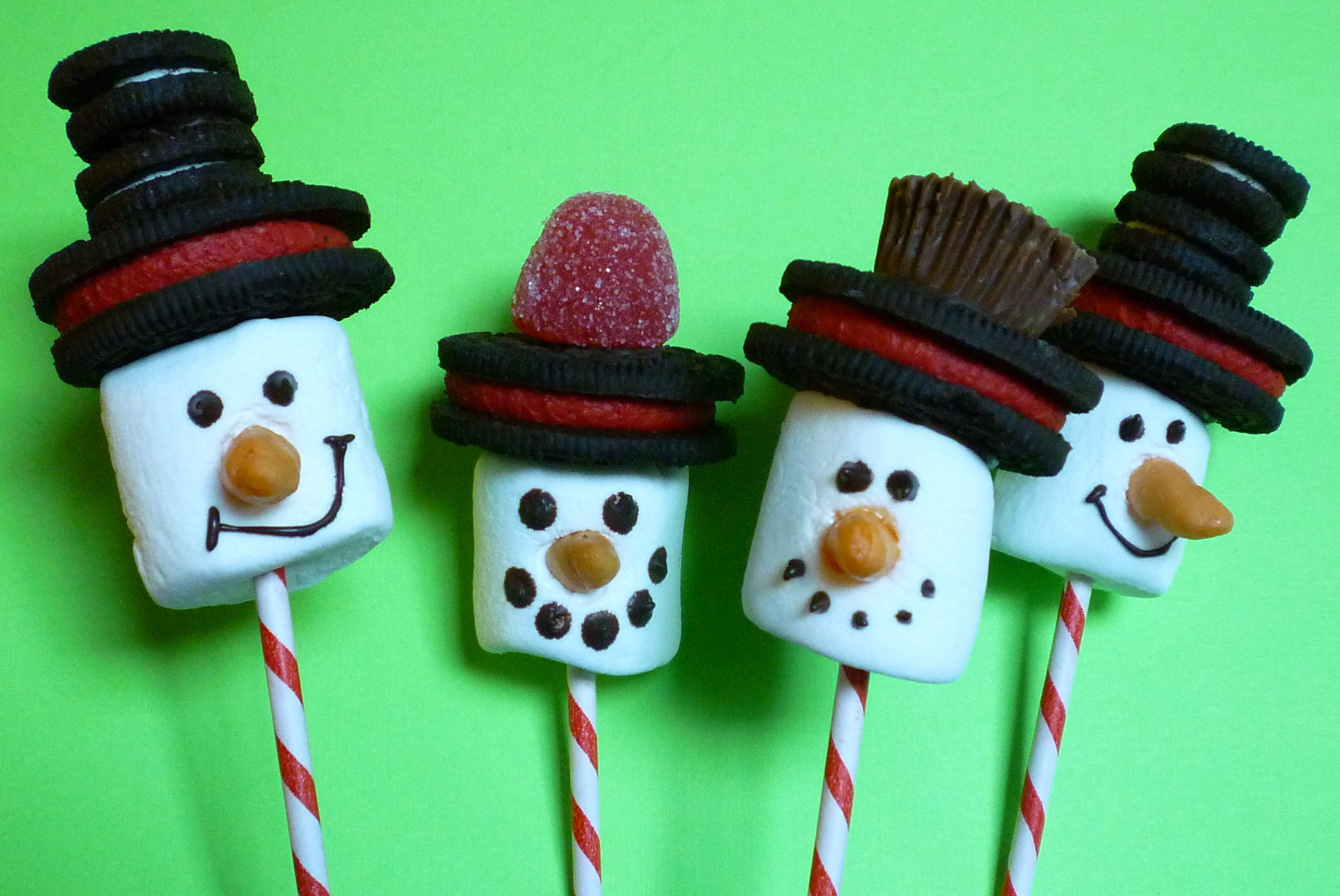 Snowman hats for crafts - Snowman Pops With Hats