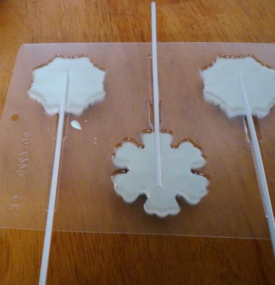 white chcolate snowflakes