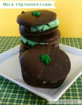 Mint & chip sandwich cookies