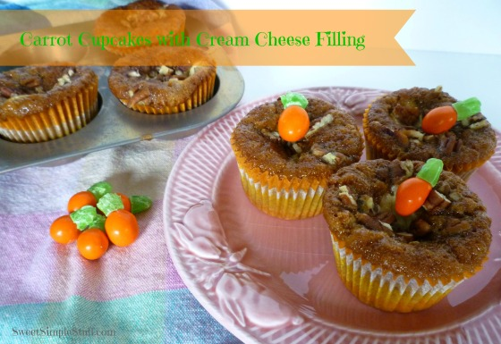 Carrot Cupcakes with Cream Cheese Filling