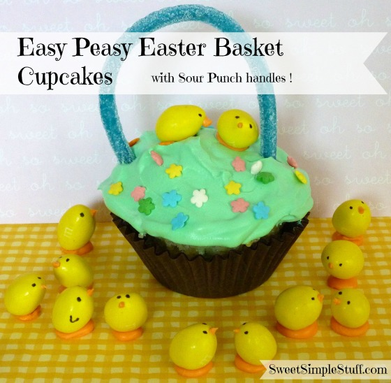 Easy Peasy Easter Basket Cupcakes with Sour Punch handles
