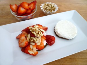 ice cream sandwich, strawberries, almonds