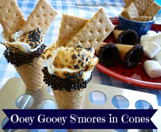 Ooey Gooey S'mores in Cones