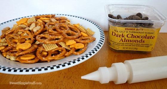 Chocolate almond football snack mix
