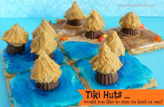 Chocolate Peanut Butter Tiki Huts
