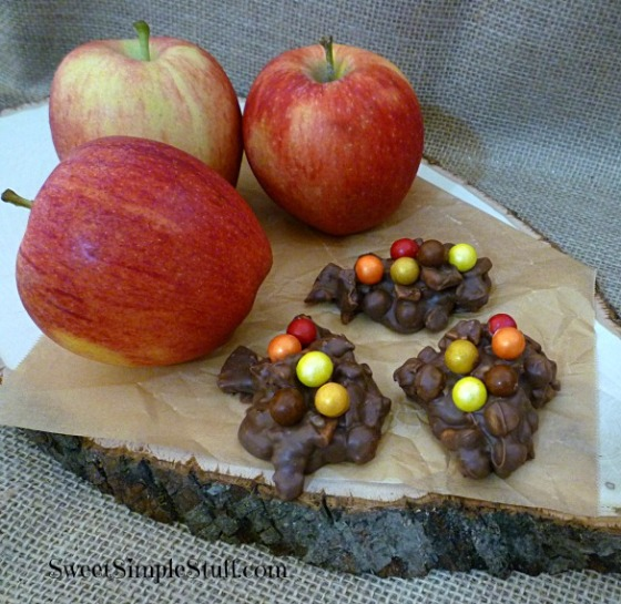 Chocolate apple caramel peanut Sixlet clusters