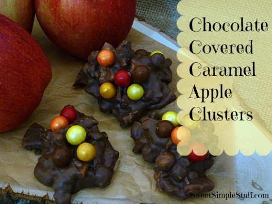 chocolate covered caramel apple clusters