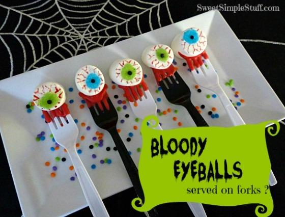 Bloody Eyeballs served on forks