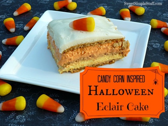 Candy corn inspired halloween eclair cake