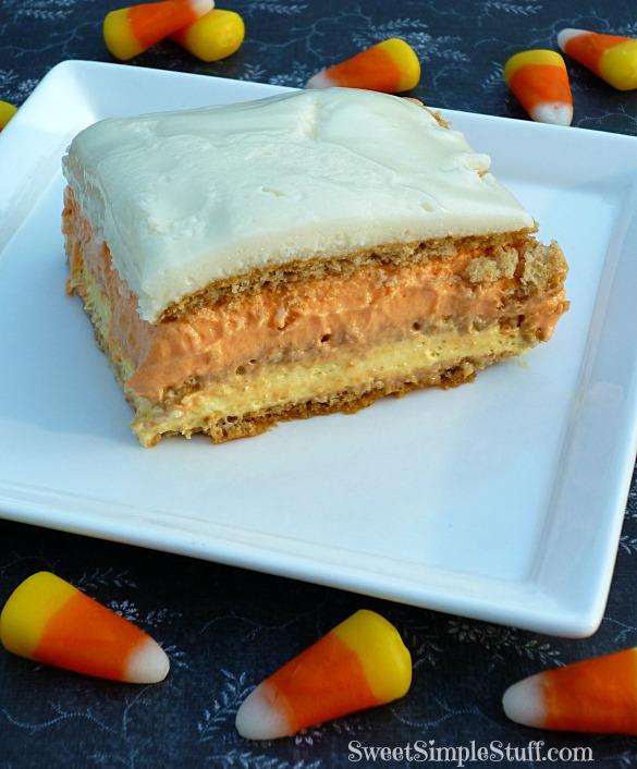 Candy corn no bake icebox cake