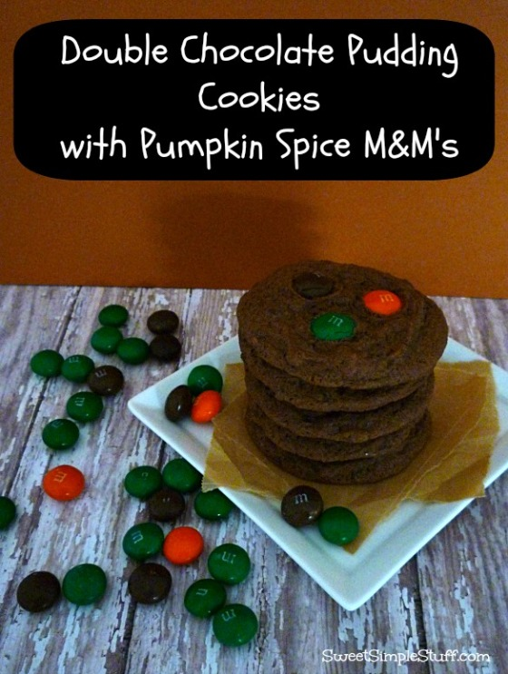 double chocolate pudding cookies pumpkin spice m&m's