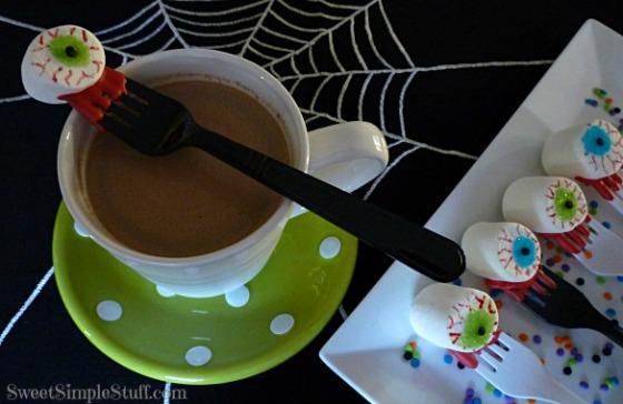 eyeball marshmallows in hot chocolate