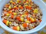 candy corn, peanut, caramel mix