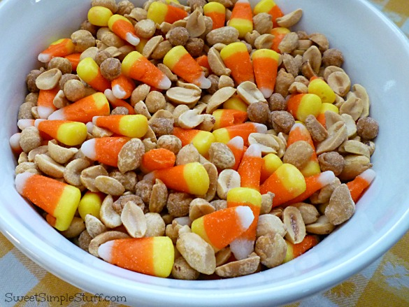 candy corn, peanut, caramel mix