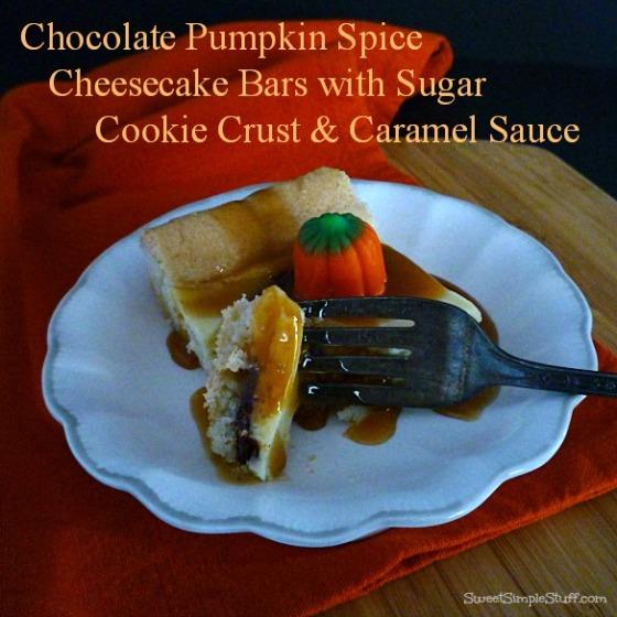 chocolate pumpkin spice cheesecake bars