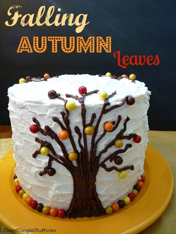 falling autumn leaves cake