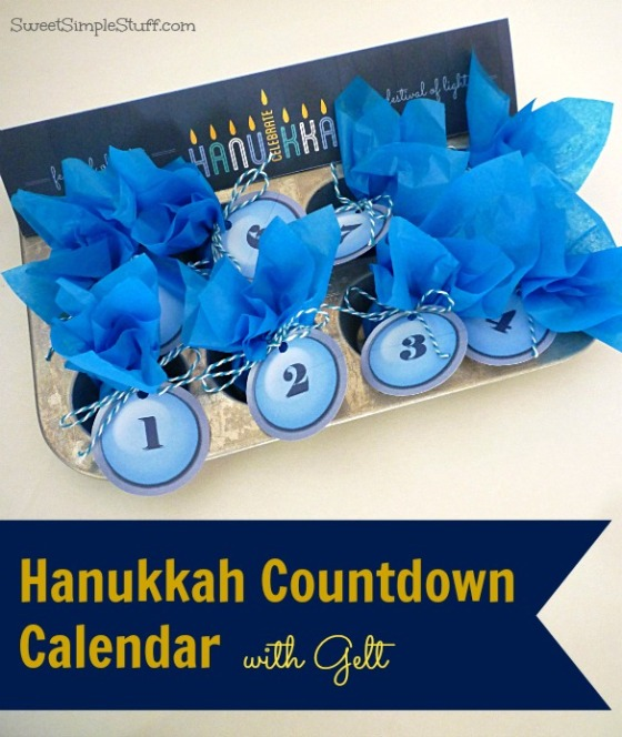 Hanukkah Countdown Calendar with gelt