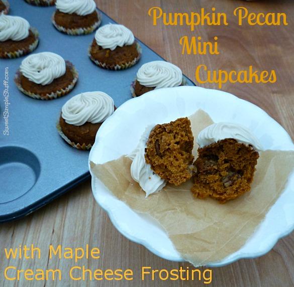 pumpkin pecan mini cupcakes maple cream cheese frosting