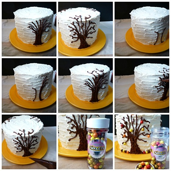tree on side of cake Sixlets