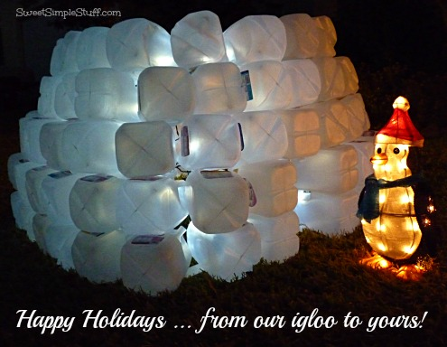 happy holidays milk jug igloo