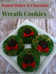 Peanut butter and chocolate wreath cookies