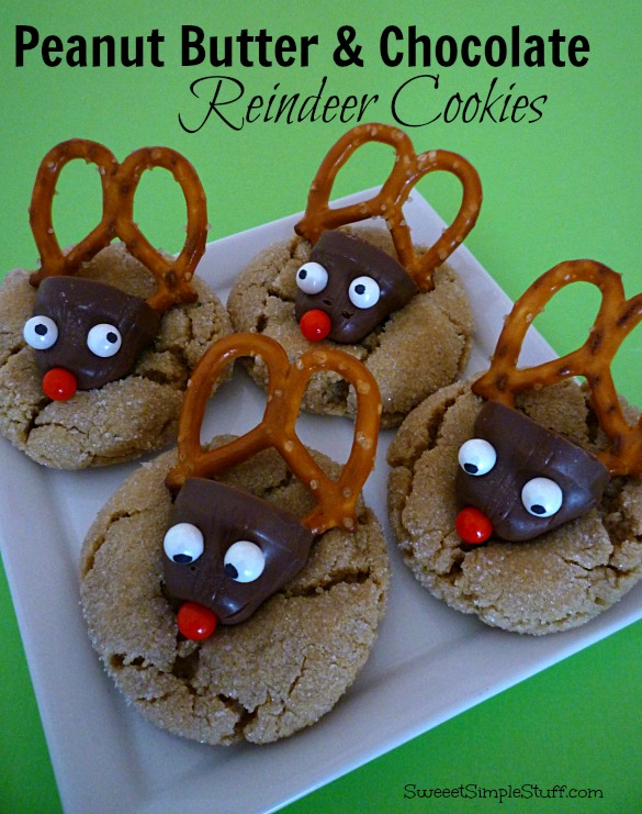 Peanut Butter & Chocolate Reindeer Cookies