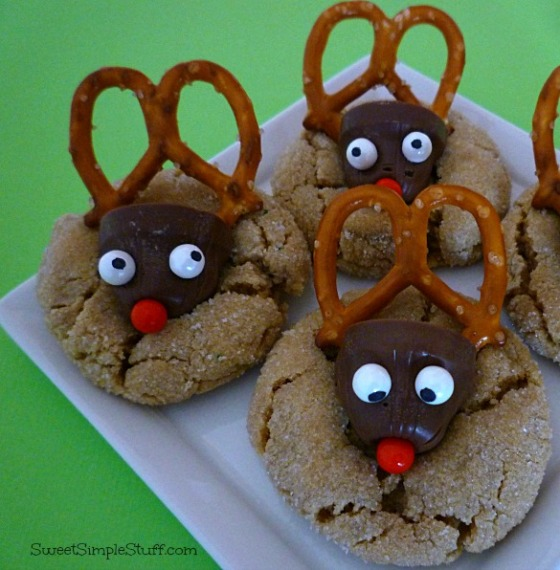 peanut butter chocolate reindeer cookies