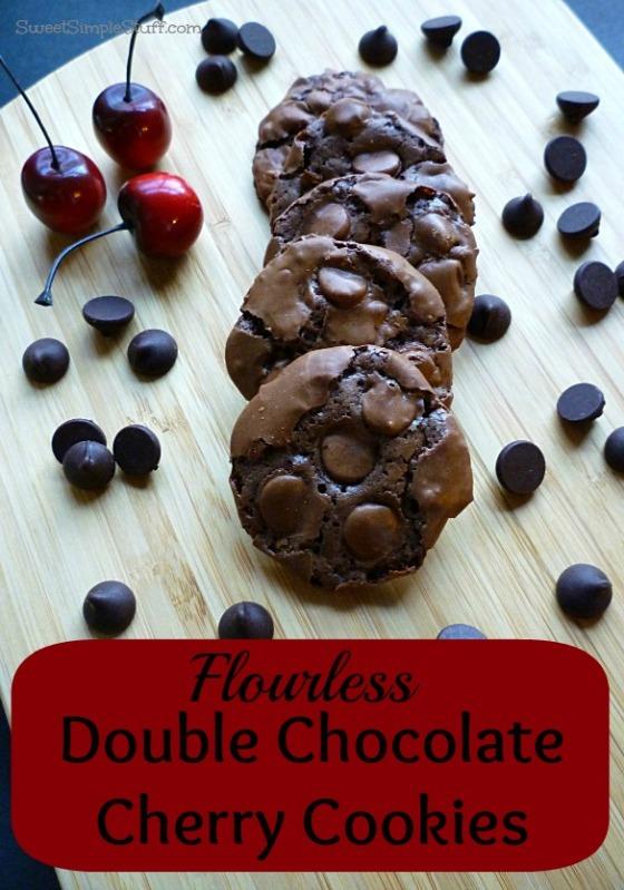 Flourless Double Chocolate Cherry Cookies | SWEET SIMPLE STUFF