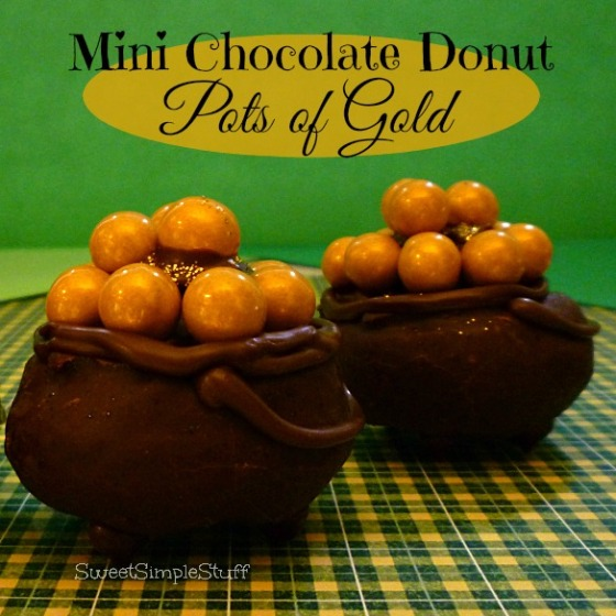 Mini Chocolate Donut Pots of Gold by SweetSimpleStuff