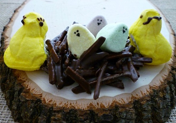 Peeps family chocolate nest