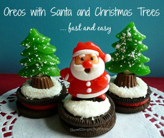 Fast & easy, Santa & Christmas Trees on Oreos - SweetSimpleStuff.com
