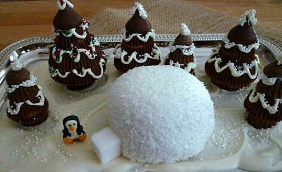 Hostess Snowball Igloo in a Peanut Butter Cup Tree Forest - SweetSimpleStuff.com