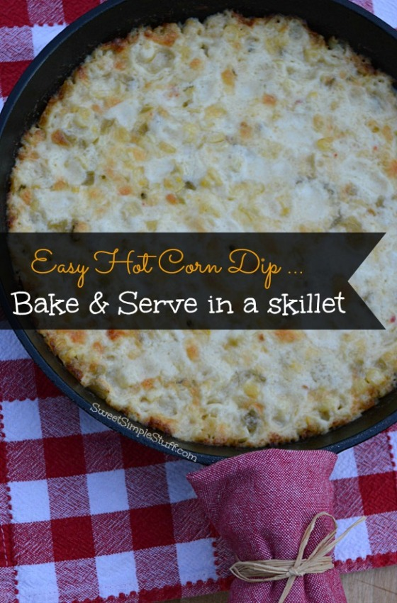 Hot Corn Dip in Skillet - SweetSimpleStuff.com