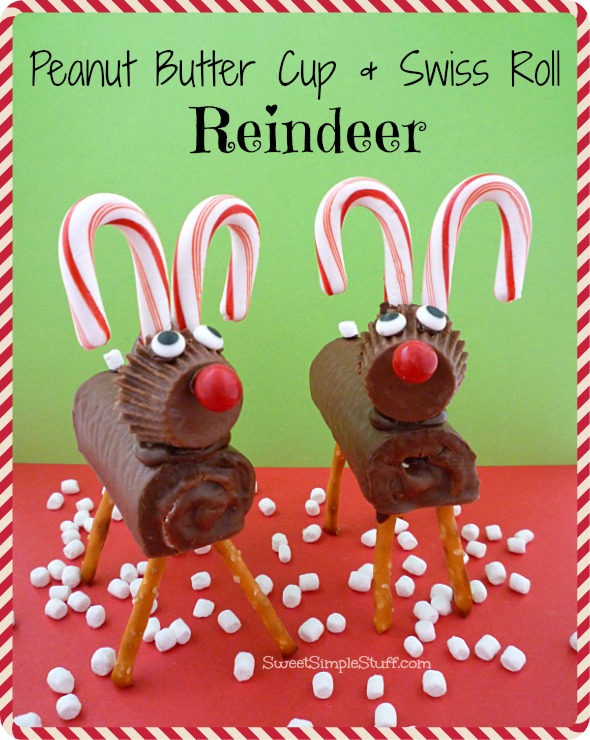 Peanut butter cup and swiss roll reindeer sweet simple stuff for Easy christmas food crafts