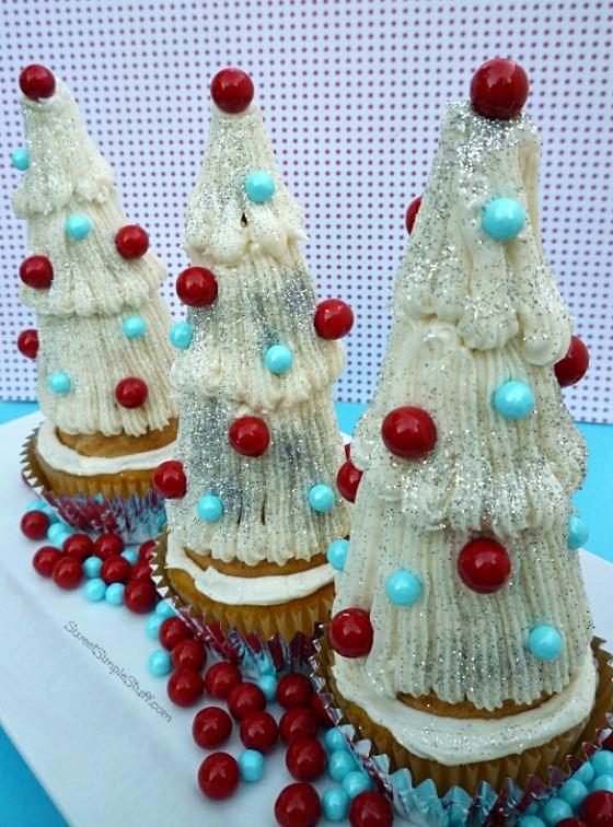 Retro silver tree cupcakes - SweetSimpleStuff.com