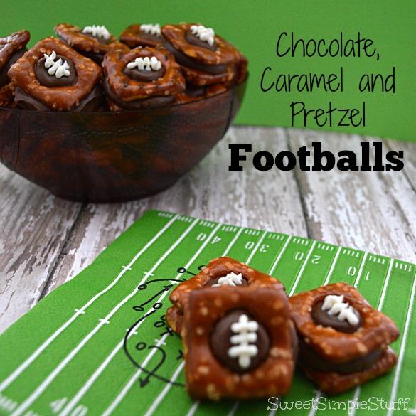 Chocolate, Caramel and Pretzel Footballs - SweetSimpleStuff