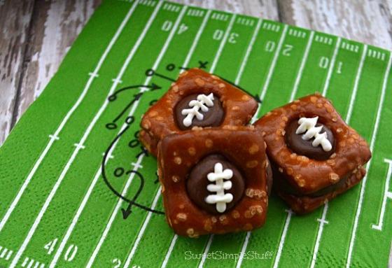Chocolate, caramel & pretzel footballs - SweetSimpleStuff