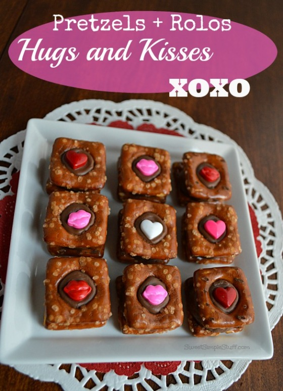 Pretzels Rolos Hugs and Kisses XOXO - SweetSimpleStuff.com