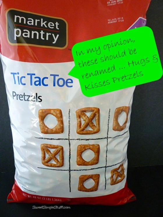 Tic Tac Toe Hugs & Kisses Pretzels - SweetSimpleStuff.com