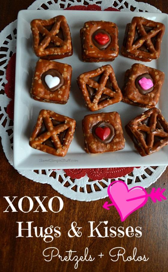 XOXO Hugs & Kisses Pretzels Rolos - SweetSimpleStuff.com