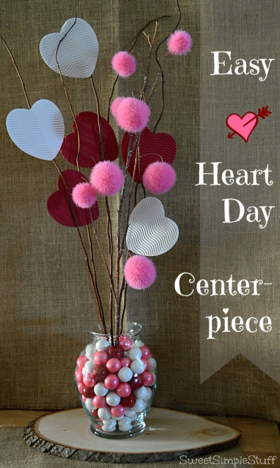 Easy Heart Day Centerpiece by SweetSimpleStuff
