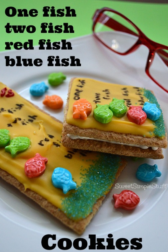 One fish two fish red fish blue fish Book Cookies by SweetSimpleStuff