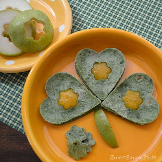 Spinach Cheddar Shamrock Quesadilla by SweetSimpleStuff