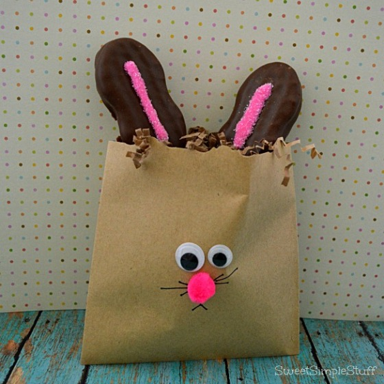 Paper Bag Bunny with Nutter Butter Ears by SweetSimpleStuff