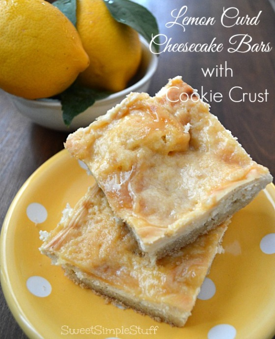 Lemon Curd Cheesecake Bars with Cookie Crust from SweetSimpleStuff